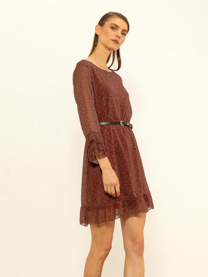 Φλοράλ φόρεμα με ζωνάκι