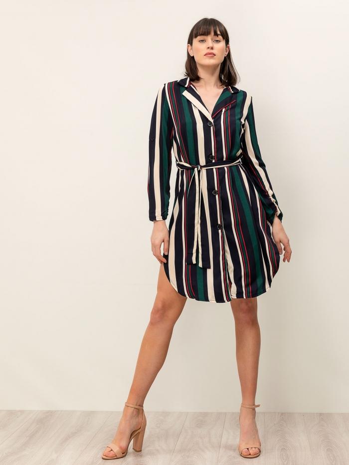 Midi φόρεμα με ρίγες και ζώνη στη μέση