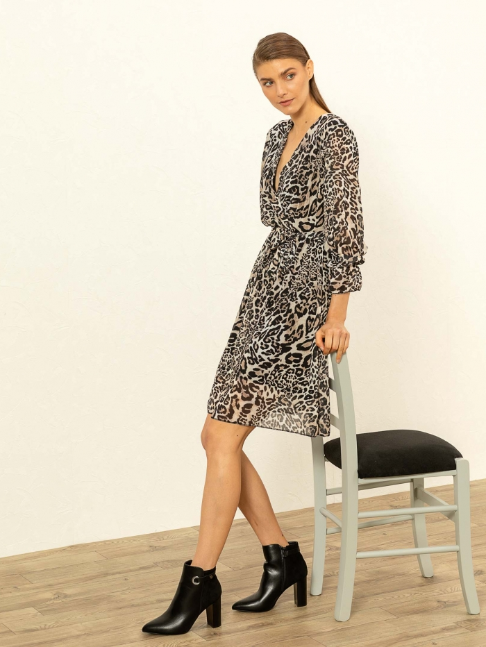 Midi leopard φόρεμα